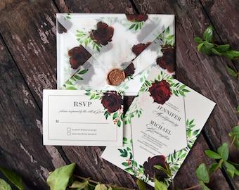 Geometric Greenery Printable Wedding Invitation, Floral Watercolor Invitation Suite, Wedding Invitation Template, Save the Date  #MF002