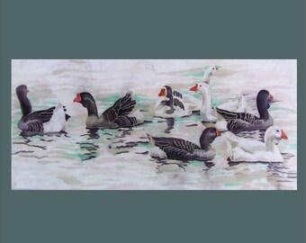 "Picture ""Birds on the water."" Original technique of painting on silk. Author: Irina Korzinnikova.55h110sm silk."