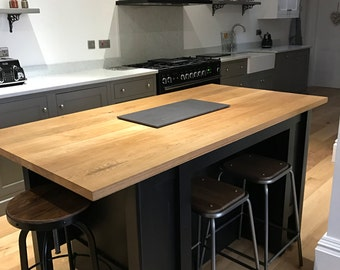 Kitchen island hand made bespoke extending islands hand painted in a colour of your  choice