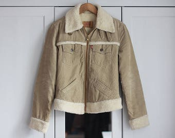 Levi's Jacket Vintage Corduroy Beige Oldschool 1990s Winter Autumn Oversized Women Outerwear Thick Warm Clothing / Extra small size