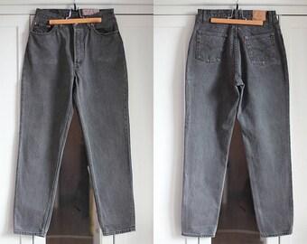 Levi's 901 Vintage High Waisted Classic Graphite Grey Jeans Trousers Denim Women Men Unisex Pants Retro 1980s Fashion W30 L32 / Large size