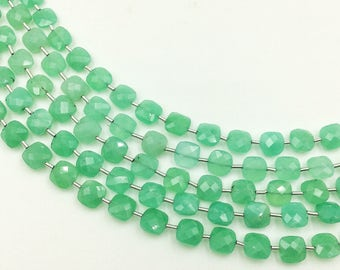 "Chrysoprase Checker Beads 8-9 mm (ONE 8"" Strand)"