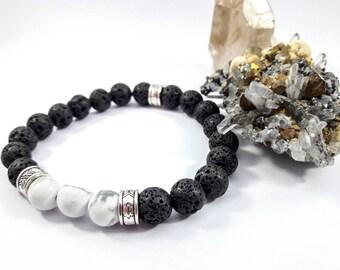 Mens lava stone and howlite bracelet