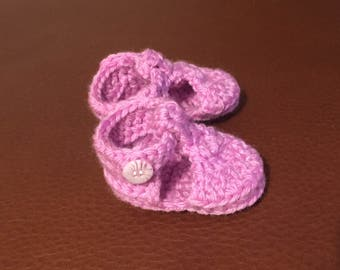 Crocheted Pink Baby Shoes