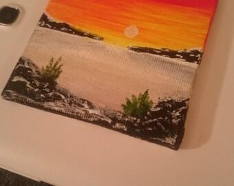 Mini acrylic magnet painting