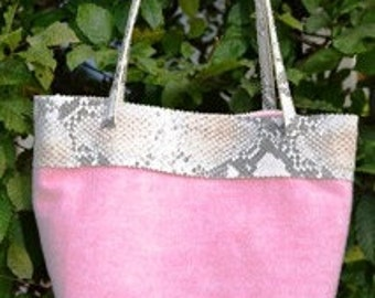 Handbag made of a material mix (Virgin wool/mohair) with snake embossed leather