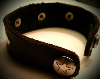 Thin Single Snap Leather Bracelet