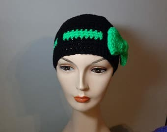 Black Messy Bun hat with Belted Green Bow