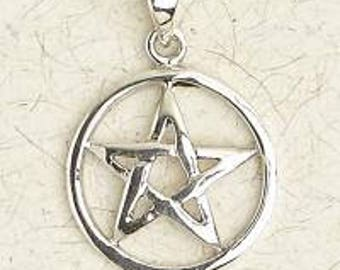 Sterling Silver Pentacle Pendant Necklace
