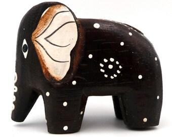 Vintage wood Elephant figurine painted