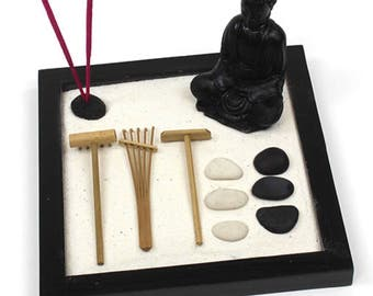Items similar to desk organizer desktop Zen Garden white wood