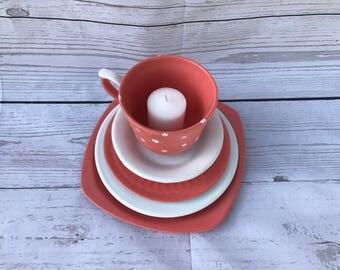 Peach Teacup and Saucers Candleholder