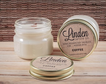 COFFEE Scented Soy Candle, Coffee Candle, Coffee Lovers Gift, Coffee Gift, Candle Gift, Mason Jar Gift, Vegan Candle, Handmade Candle