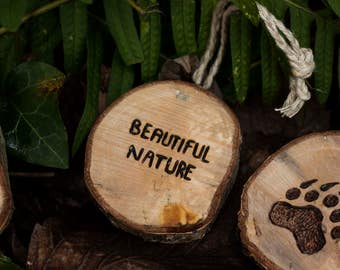 """Totem grigri """"Sentence / first name"""" (customizable) - Lucky nature, eco-friendly carved wood"""