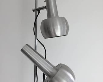 Twin-headed Midcentury Silver Retro Lamp, Denmark 1970s