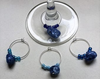 Stone Blue Colored Wine Charms