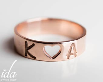 Personalized Rose Gold  Band Ring - Personalized Gift For Her - Girlfriend Gift - Promise Ring For Her - Initial Ring -