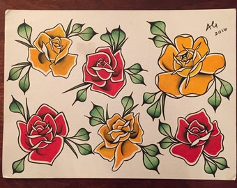 Traditional Rose Tattoo Flash Art Print 11x15