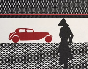 Oldtimer and model - collage on wallpaper