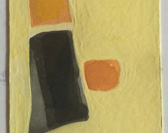 ACEO geometric original gouache painting