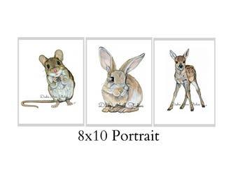 Set Of Three 8X10 Forest Animal Nursery Fine Art Prints - Automatic FREE Shipping - SKU102