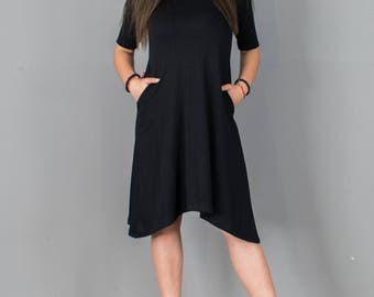 Black Dress / Party Dress / Black Cotton Short Dress / T050101