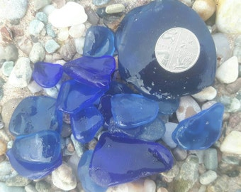 Cobalt blue sea glass pieces frosted crafts genuine sea worn surf tumbled beach finds