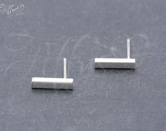 Earrings 925 sterling silver rectangle * bar