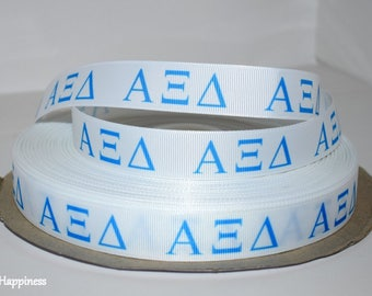"""Alpha Xi Delta 7/8"""" Grosgrain Ribbon C42"""