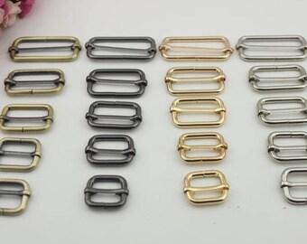 6pcs gold silver balck brass adjuster Slide Buckle Tri-Glide bar slider adjustable buckle rectangle sliders belt adjuster