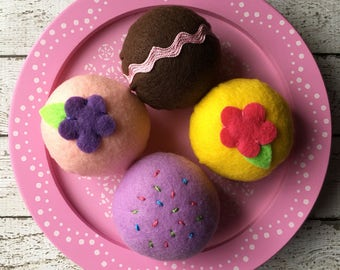 felt food tea cakes, play food tea party cakes, felt bon bons, pretend tea party, montessori toy