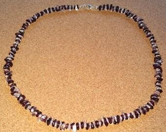 Handmade red wine claret garnet - clear quartz chip gemstone bead necklace