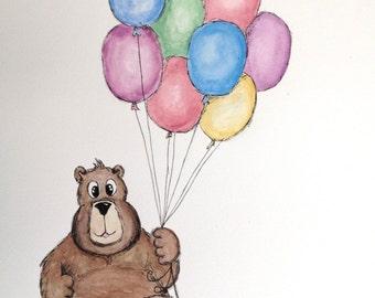 Nursery Decor Wall Art Bear Balloons Print only