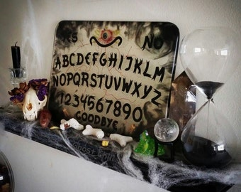 Clear Dark Ouija Board with Eye and Teeth