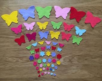 Die cut felt shapes, die cut wool blend felt, die cut felt butterflies, die cut felt flowers