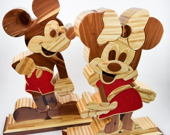 One of a Kind, 3D, Handcrafted, Mickey & Minnie Penny Banks!