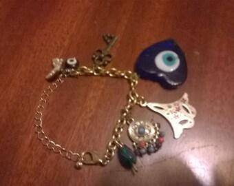 Evil eye (Fatima's eye) charm bracelet