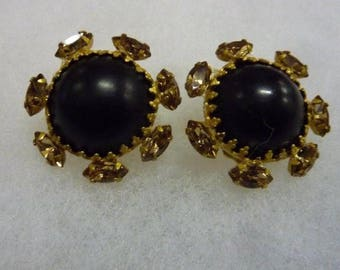 """Timeless Beauty ~ VINTAGE SIGNED """"EUGENE"""" Clip-on Black and Gold Rhinestone Earrings"""