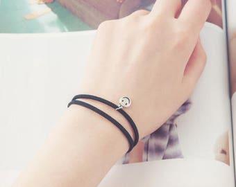 Black Faux Leather Bracelet with Smiley Face Emoji Pendant Charm