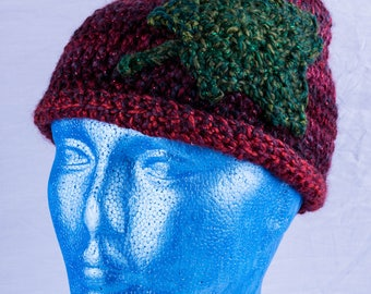 Sparkle red beanie hat with green ivy leaf