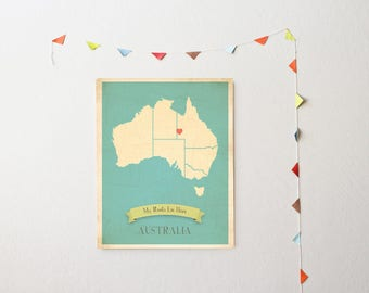 40% OFF HOLIDAY SALE Australia Roots Map 11x14 Customized Print, Personalized Map, Personalized Gift, Map of Australia, Countries Maps