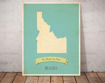 20% OFF Map Wall Art, Map Art, Map Print, Map Nursery Art, 11x14, Customized Print, Idaho Roots Map