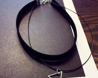 Triangle Pendant Choker Necklace