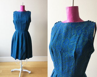 1960s Mod Blue and Green Sleeveless Tapestry Dress