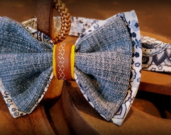 Bow tie, bow tie, jeans, leather.
