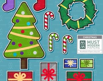 Christmas Clipart, DIY Stickers Included, Holiday Clip Art, Christmas Illustration, Kawaii