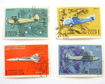 "Soviet postage stamps ""Airplanes"" 1969, Set of 4 stamps ""Glory to the Soviet aircraft builders""."