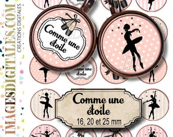 COMME UNE ETOILE Digital Collage Sheet Printable Instant Download for art jewelry scrapbooking bottle caps magnets pins