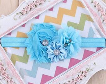 Blue Toddler Headband/Baby Headband/Baby Girl Headband/Shabby Chic Headband/Infant Headband/Rhinestone Headband Baby/Headband