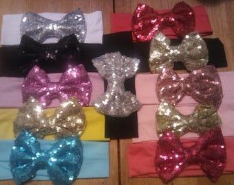 Sequin bow headbands